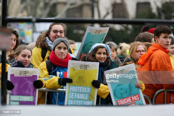 Protesters march in the streets of Paris during the 13th quotMarch for Lifequot against abortion and medically assisted reproduction on January 20...