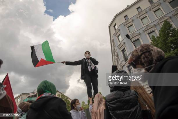 Protesters march on Al Nakba Day to demonstrate for the rights of Palestinians in Neukoelln district on May 15, 2021 in Berlin, Germany. This year's...
