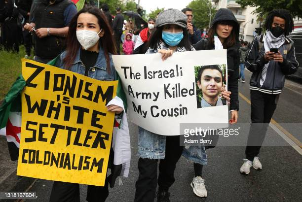 Protesters march on Al Nakba Day to demonstrate for the rights of Palestinians on May 15, 2021 in Berlin, Germany. This year's protests are taking...