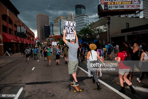 Protesters march on July 17 2017 in Minneapolis Minnesota Demonstrations have taken place each day since a jury acquitted police officer Jeronimo...