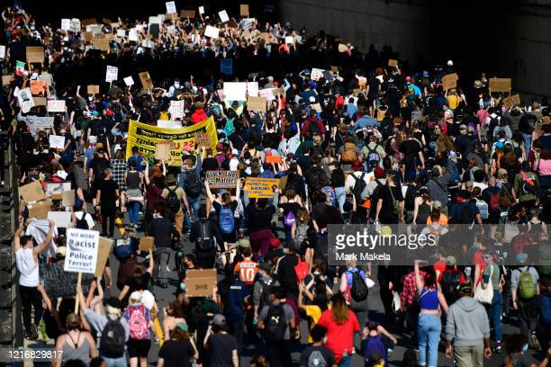 protesters march on the Vine Street Expressway through Center City on June 1 2020 in Philadelphia Pennsylvania Demonstrations have erupted all across...