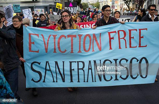 Protesters march onto the house of Jack Halprin a Google lawyer April 11 2014 after he purchased a multifamily house and illegally evicted six...