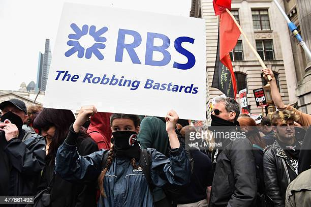 Protesters march through central London during a demonstration against austerity and spending cuts on June 20 2015 in London England Thousands of...
