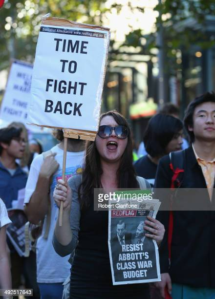 Protesters march through the city streets on May 21 2014 in Melbourne Australia Student activists gathered today in cities accross the country to...