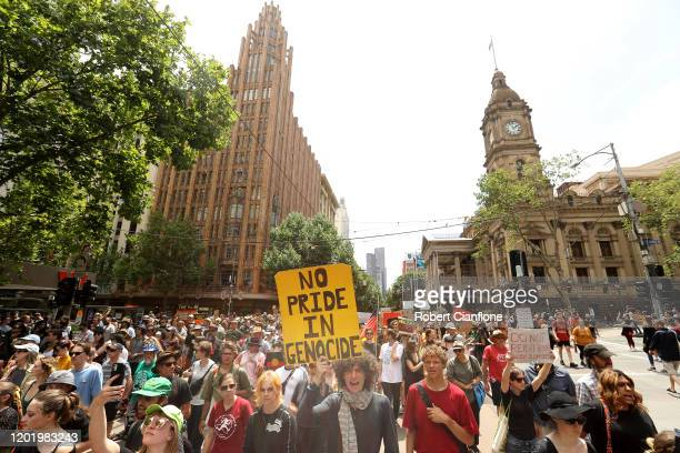 Protesters march through the Melbourne CBD on January 26, 2020 in Melbourne, Australia. Australia Day, formerly known as Foundation Day, is the...