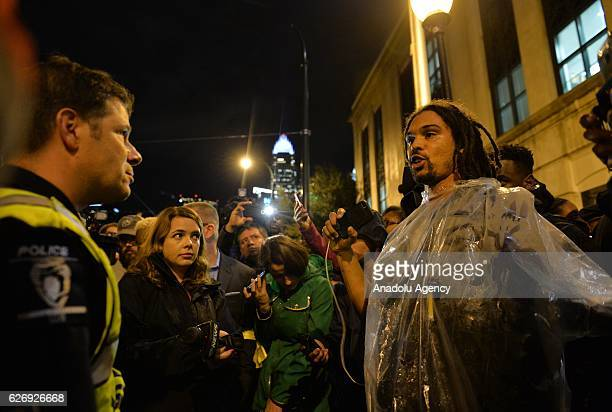 Protesters march through various neighborhoods in Charlotte North Carolina USA on November 30 2016 at midnight during a demonstration following the...