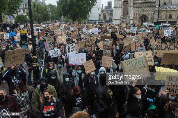 Protesters march through Westminster as thousands of people join a Black Lives Matter protest on June 6 2020 in London United Kingdom The death of an...