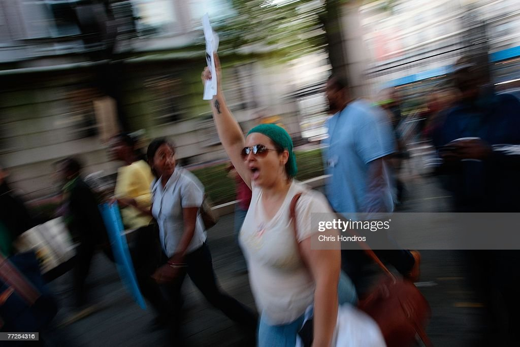 Protesters march to Columbia University's main campus quad October 10, 2007 in New York. The rally was held to protest the discovery of a noose on the office door of an African-American professor.