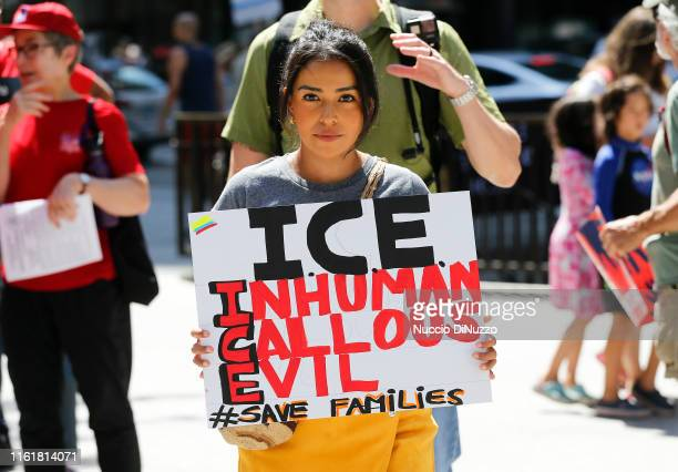 Protesters march to offices of the US Immigration and Customs Enforcement on July 13 2019 in Chicago Illinois The rally is calling for an end to...