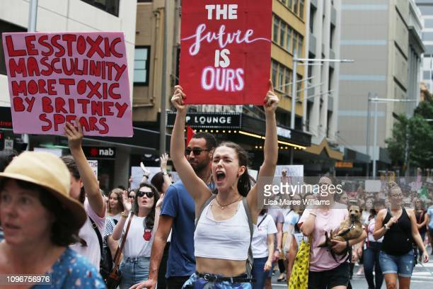Protesters march towards Belmore Park during the 'Women's Wave' March 2019 on January 20 2019 in Sydney Australia The third annual global Women's...