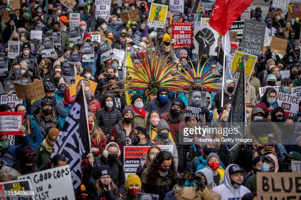 Protesters marched after the case went to the jury at the Hennepin Government Center, Monday, April 19, 2021 in Minneapolis. Trial coverage of former...
