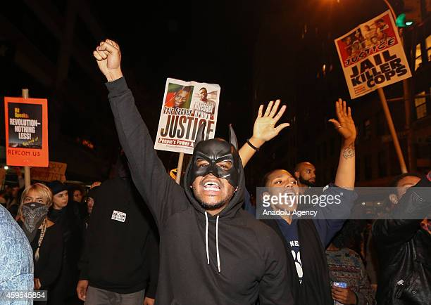 Protesters marched from Union Square to Times Square after learning at police officer Darren Wilson of the Ferguson MO police department who fatally...