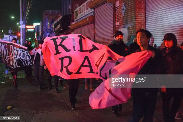 Protesters marched on the sidewalks to Coney Island to protest the rape of Anna Chambers by the NYPD in New York US on 17 October 2017