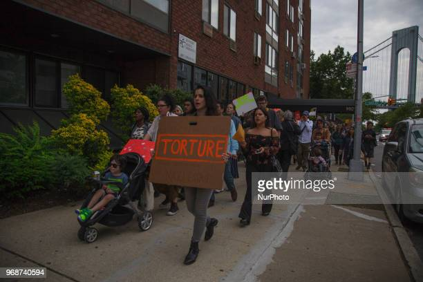 Protesters marched through the streets of Bay Ridge to raise awareness for Pablo Villavicencio's recent detainment by ICE