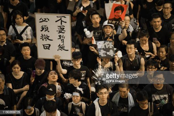 Protesters marched through the streets of Hong Kong holding placards during the mass rally which called for among other demands the withdrawal of the...