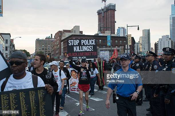 Protesters near Barclays Center Demonstrators rallied in Cadman Plaza in downtown Brooklyn and marched to Barclays Center to protest against police...