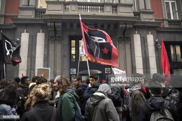 Protesters near of the headquarters of the newspaper Il Mattino during the demonstration in the streets of Naples against the schoolwork alternation...