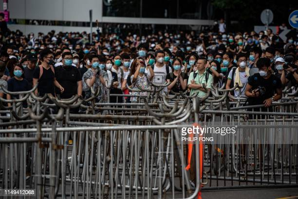 TOPSHOT Protesters occupy outside Legislative Council in Hong Kong on June 12 2019 Large crowds of protesters gathered in central Hong Kong as the...