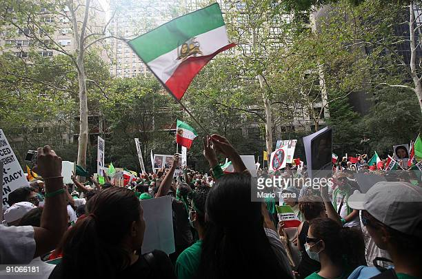 Protesters of Iranian President Mahmoud Ahmadinejad demonstrate outside U.N. Headquarters on the first day of the United Nations General Assembly...