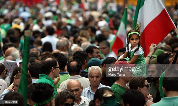 Protesters of Iranian President Mahmoud Ahmadinejad demonstrate outside UN headquarters on the first day of the United Nations General Assembly...