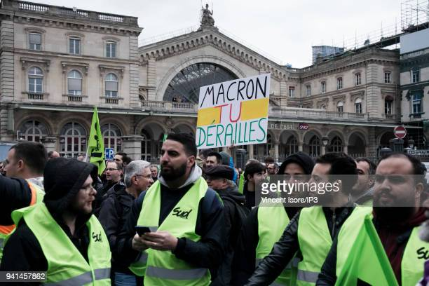 Protesters of the trade union SUD Rail at the demonstration against the breakup of the public railway service on April 3 2018 in Paris France Railway...