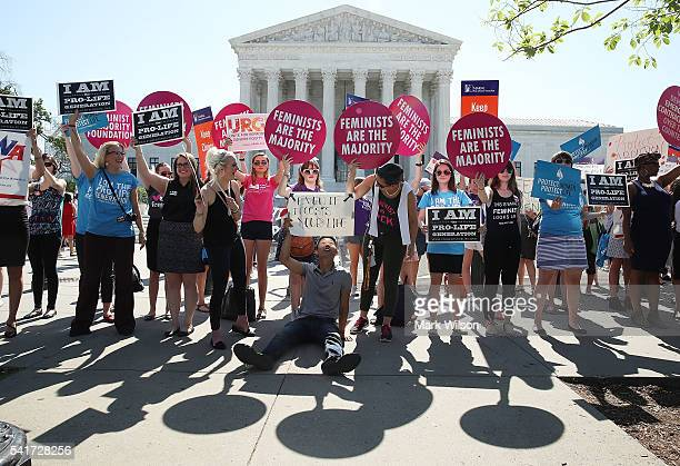 Protesters on both sides of the abortion issue rally in front of the US Supreme Court building June 20 2016 in Washington DC Several groups are...