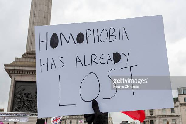 Protesters on both sides of the argument on marriage equality gathered in Trafalgar Square, London. 24 March 2013. Organisers of the protest La Manif...