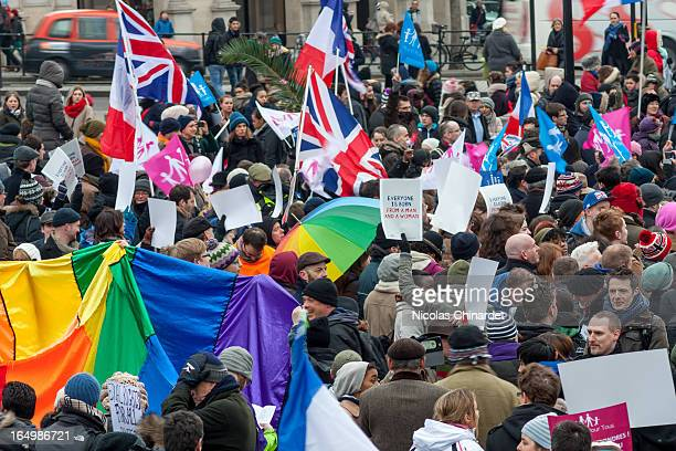 CONTENT] Protesters on both sides of the argument on marriage equality gathered in Trafalgar Square London 24 March 2013 Organisers of the protest La...