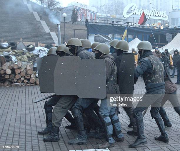 Protesters on Independence square in Kiev training amnd preparing for the battle.
