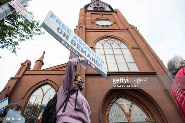 Protesters organized by NYC for abortion rights demonstrate outside Saint Pauls Roman Catholic Church in the Brooklyn Borough of New York City, on...