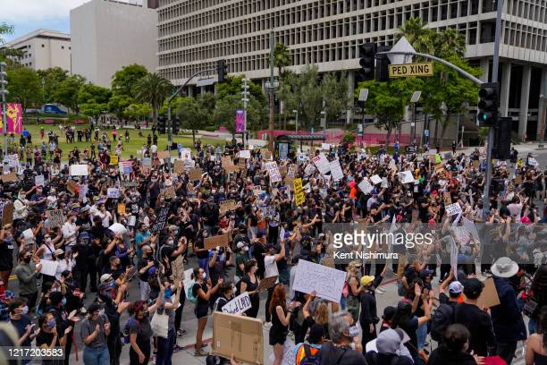Protesters outside LA City Hall in downtown Los Angeles on Tuesday, June 2, 2020 in Los Angeles, CA. Protests erupted across the country, with people...