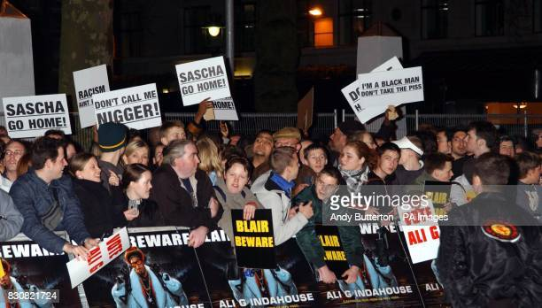 Protesters outside the Empire in London's Leicester Square prior to the premiere of Ali G InDaHouse