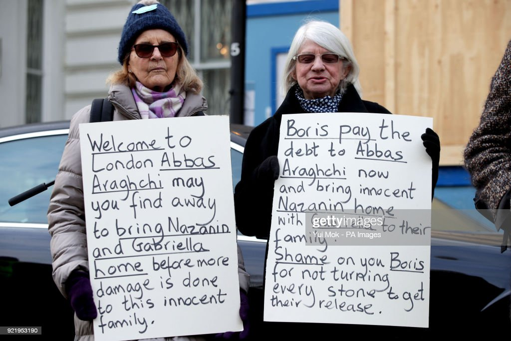 Protesters outside the Iranian Embassy in London, where Richard Ratcliffe, the husband of jailed British mother Nazanin Zaghari-Ratcliffe, left a letter concerning the continued detention of his wife in Iran.