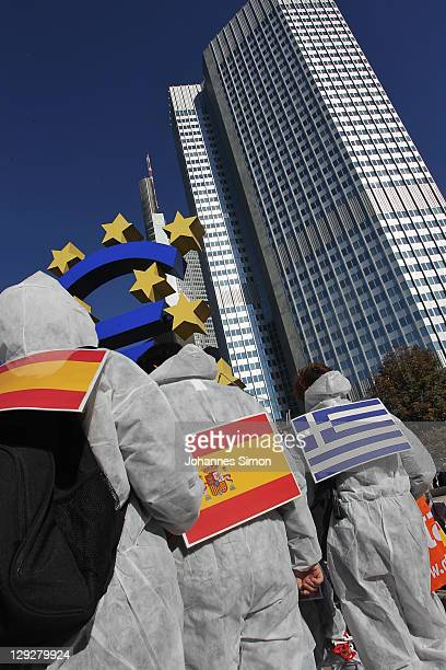 Protesters participate in a demonstration against the influence of bankers and financiers near the European Central Bank on October 15 2011 in...