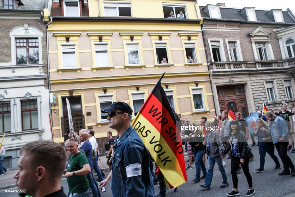 Right-Wing And Counter Demonstrators Protest In Koethen Following Death Of German Man : News Photo