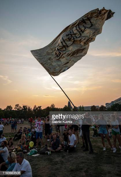 Protesters participate in the Unteilbar march against racism exclusion and exploitation and for an open society on August 24 2019 in Dresden Germany...