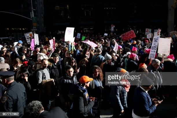 Protesters participate in the Women's March against US President Donald J Trump on 6th Avenue of New York United States on January 20 2018