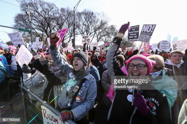 Protesters participate in the Women's March against US President Donald J Trump in Chicago United States on January 20 2018