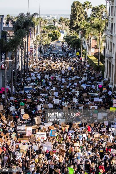Protesters participate in the YG x BLMLA x BLDPWR protest and march June 07 2020 in Los Angeles California