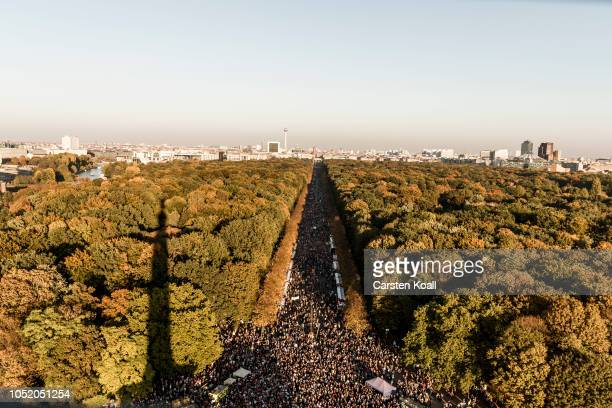 Protesters participate the Unteilbar march against racism exclusion and exploitation and for an open society on October 13 2018 in Berlin Germany 150...