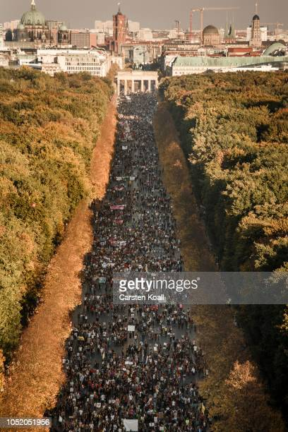 Protesters participate the Unteilbar march against racism exclusion and exploitation and for an open society on October 13 2018 in Berlin Germany...