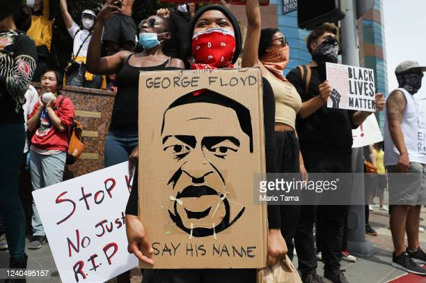 protesters peacefully demonstrate outside the Wilshire Federal Building on June 1 2020 in Los Angeles California California Governor Gavin Newsom has...