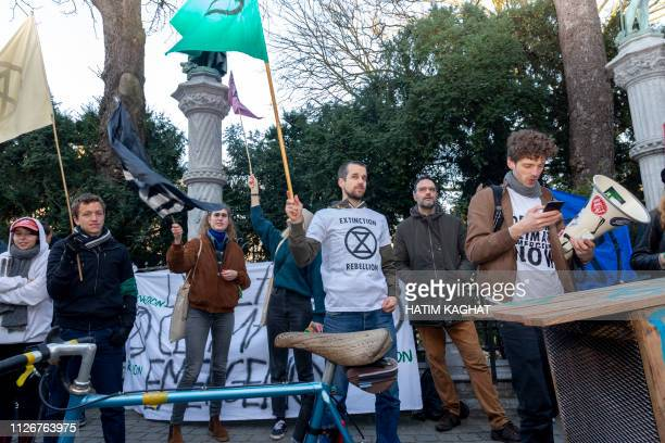 Protesters pictured outside a conference on climate change and the state of the oceans organised by minister Marghem Tuesday 19 February 2019 in...