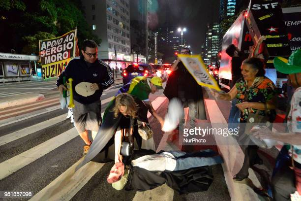 Protesters protest against STF on Avenida Paulista in Sao Paulo Brazil on 25 April 2018 Federal Supreme Court that removed from federal judge Sérgio...
