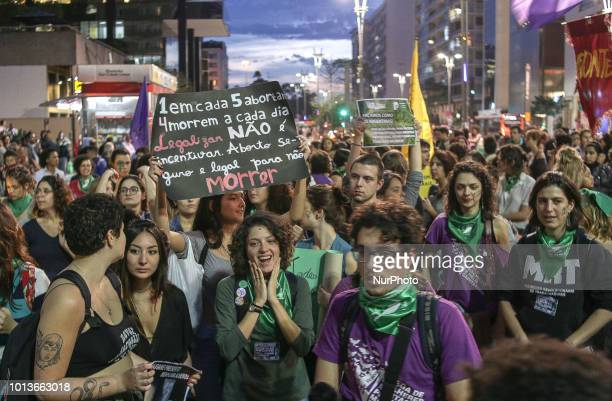 Protesters protest the legalization of abortion in front of the Consulate of Argentina in São Paulo on Avenida Paulista on Wednesday The act is...