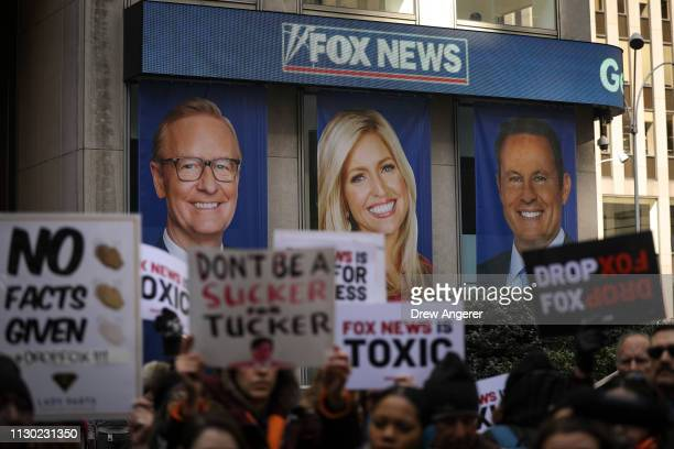 Protesters rally against Fox News outside the Fox News headquarters at the News Corporation building March 13 2019 in New York City On Wednesday the...