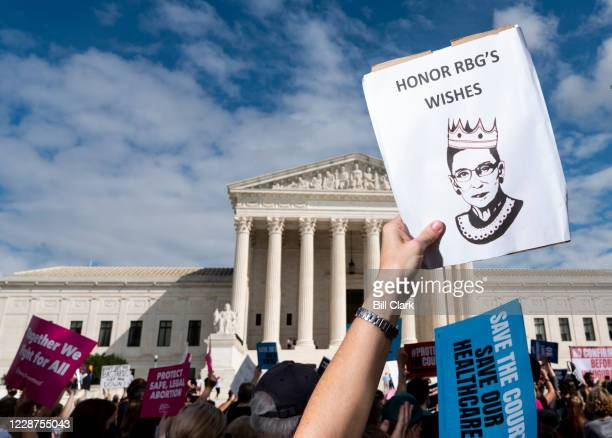 Protesters rally against President Donald Trumps Supreme Court nominee Amy Coney Barrett on Sunday afternoon Sept 27 in front of the US Supreme Court...