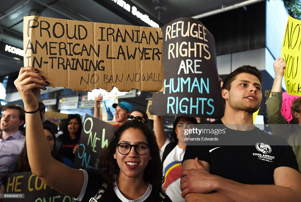 Protesters rally against the Muslim immigration ban imposed by U.S. President Donald Trump at Los Angeles International Airport on January 29, 2017 in Los Angeles, California.