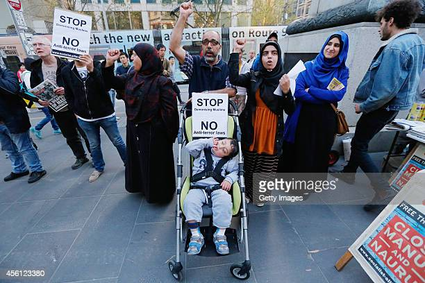 Protesters rally as tensions increase between the Australian Muslim community and law enforcement on September 26 2014 in Melbourne Australia Friends...
