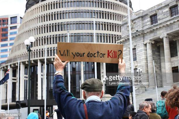 Protesters rally at Parliament on November 13, 2019 to voice their opposition to the proposed End of Life Choice referendum which will ask voters in...